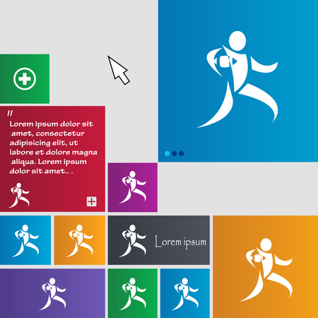 rugby player: Rugby player running with ball icon sign. buttons. Modern interface website buttons with cursor pointer. Vector illustration