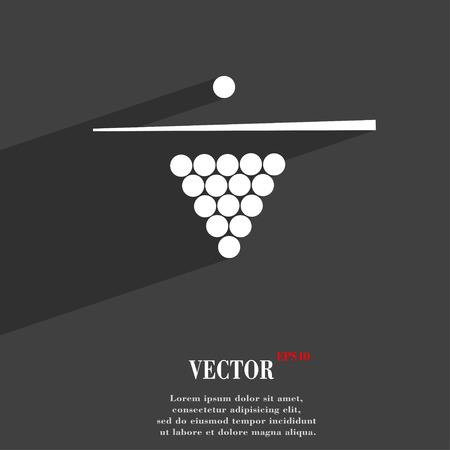 pool game: Billiard pool game equipment symbol Flat modern web design with long shadow and space for your text. Vector illustration