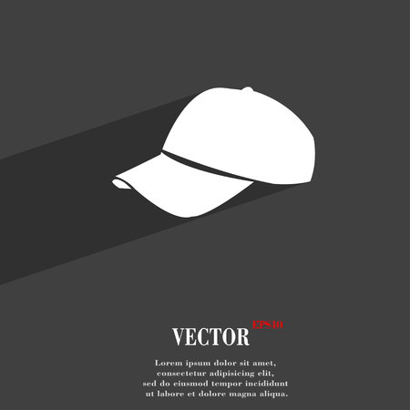 hat with visor: Baseball cap symbol Flat modern web design with long shadow and space for your text. Vector illustration