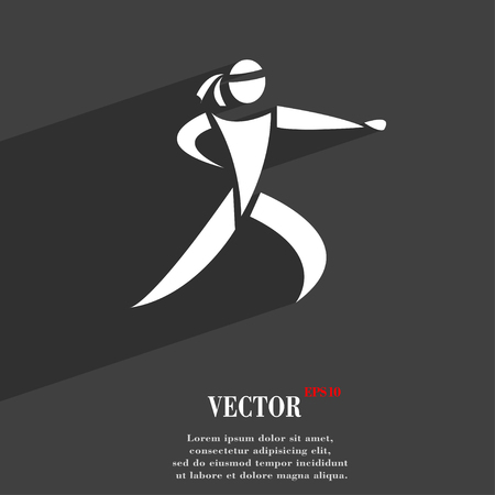 jujitsu: Karate kick symbol Flat modern web design with long shadow and space for your text. Vector illustration