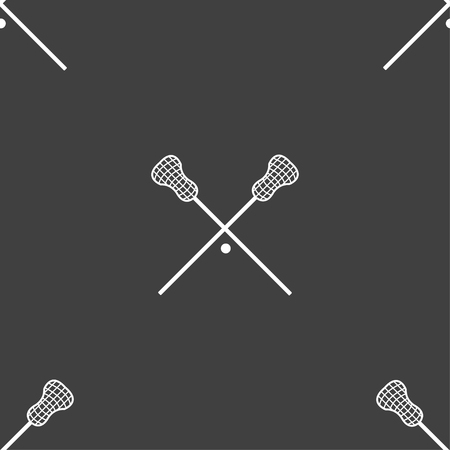 lax: Lacrosse Sticks crossed icon sign. Seamless pattern on a gray background. Vector illustration
