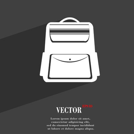 back pack: School Backpack symbol Flat modern web design with long shadow and space for your text. Vector illustration Illustration