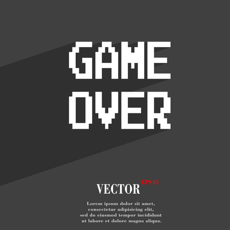 Game over concept symbol Flat modern web design with long shadow and space for your text. Vector illustration Illustration