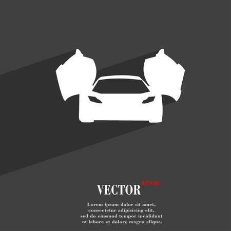 ergonomic: sports car symbol Flat modern web design with long shadow and space for your text. Vector illustration