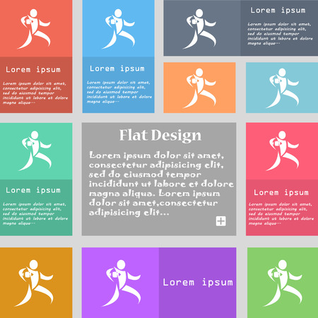 league: Rugby player running with ball icon sign. Set of multicolored buttons with space for text. Vector illustration