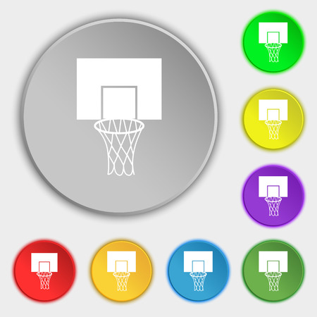 backboard: Basketball backboard icon sign. Symbol on eight flat buttons. Vector illustration