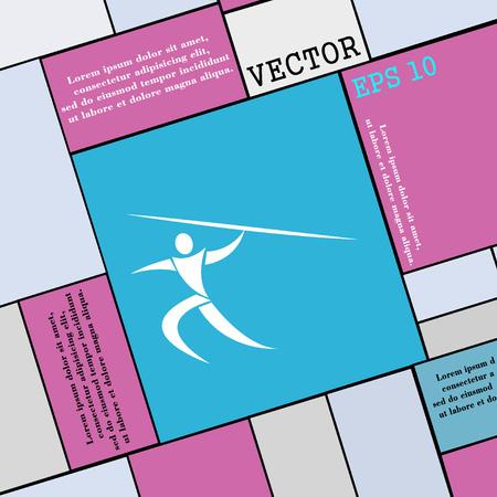 lanzamiento de jabalina: Deportes de verano, lanzamiento de jabalina icono de la muestra. estilo plano moderno para su dise�o. ilustraci�n vectorial