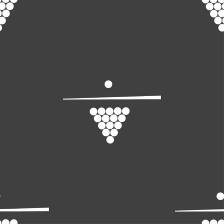 snooker rooms: Billiard pool game equipment icon sign. Seamless pattern on a gray background. Vector illustration