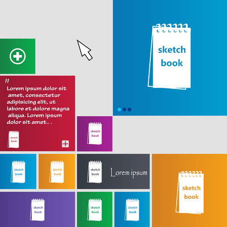 sketchbook: Sketchbook icon sign. buttons. Modern interface website buttons with cursor pointer. Vector illustration