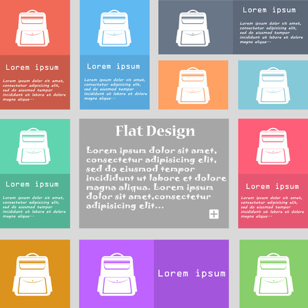 back pack: School Backpack icon sign. Set of multicolored buttons with space for text. Vector illustration