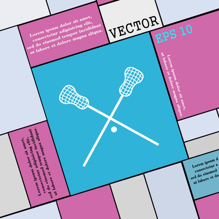 lax: Lacrosse Sticks crossed icon sign. Modern flat style for your design. Vector illustration