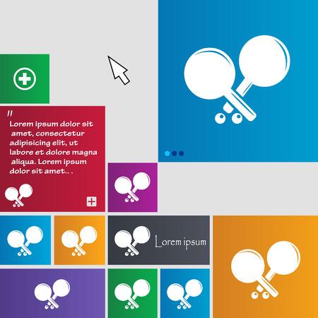 racquetball: Tenis icono de la muestra de cohetes. botones. Modernos botones de sitio web con interfaz puntero del cursor. ilustración vectorial