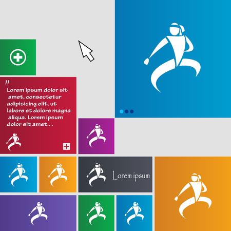jujitsu: Karate kick icon sign. buttons. Modern interface website buttons with cursor pointer. Vector illustration