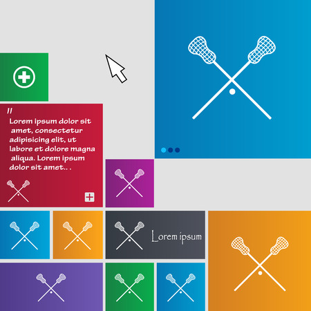 lax: Lacrosse Sticks crossed icon sign. buttons. Modern interface website buttons with cursor pointer. Vector illustration