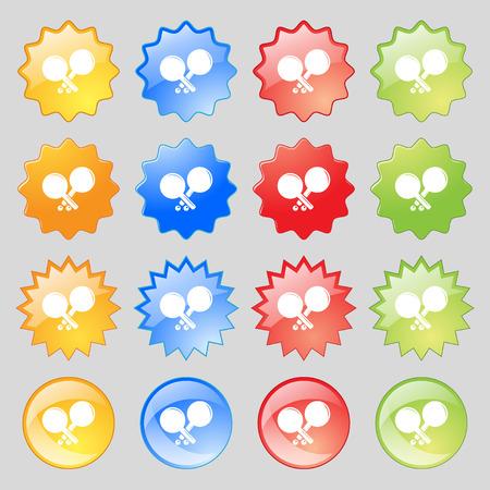 racquetball: Tenis icono de la muestra de cohetes. Gran conjunto de 16 botones de colores elegantes para su diseño. ilustración vectorial