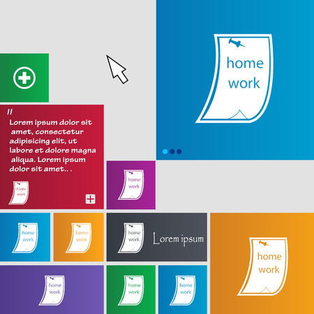 assignments: Homework icon sign. buttons. Modern interface website buttons with cursor pointer. Vector illustration