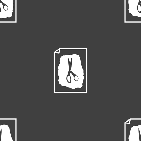 indecision: rock, scissors, paper poster icon sign. Seamless pattern on a gray background. Vector illustration