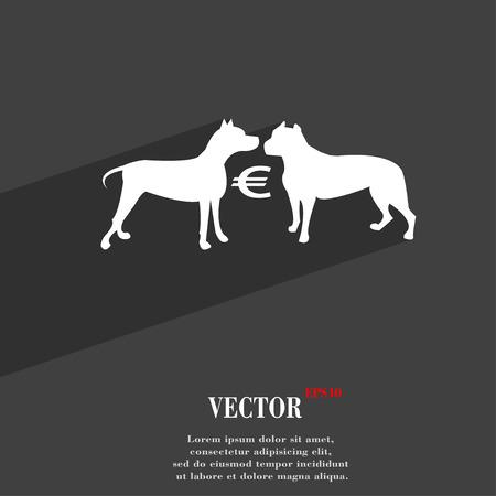 kampfhund: Wetten auf Hundek�mpfe Symbol Wohnung modernen Web-Design mit langen Schatten und Raum f�r Ihren Text. Vektor-Illustration