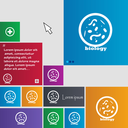 vibrio: bacteria and virus disease, biology cell under microscope icon sign. buttons. Modern interface website buttons with cursor pointer. Vector illustration Illustration