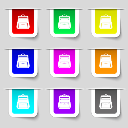 back pack: School Backpack icon sign. Set of multicolored modern labels for your design. Vector illustration