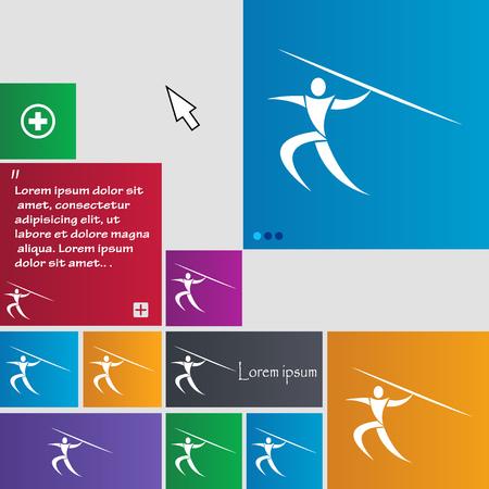 lanzamiento de jabalina: Deportes de verano, lanzamiento de jabalina icono de la muestra. botones. Modernos botones de sitio web con interfaz puntero del cursor. ilustración vectorial