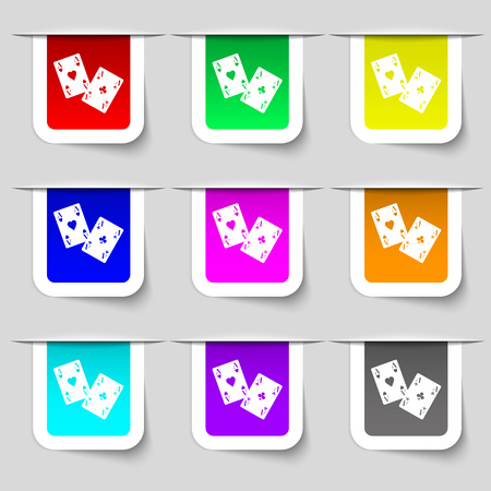 aces: Two Aces icon sign. Set of multicolored modern labels for your design. Vector illustration Illustration