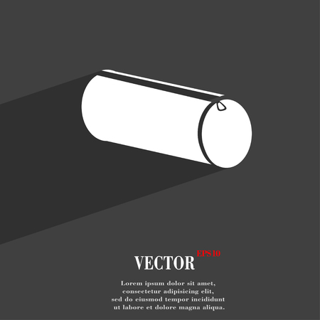 pencil case: pencil case symbol Flat modern web design with long shadow and space for your text. Vector illustration Illustration