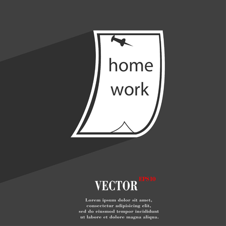 homework: Homework symbol Flat modern web design with long shadow and space for your text. Vector illustration
