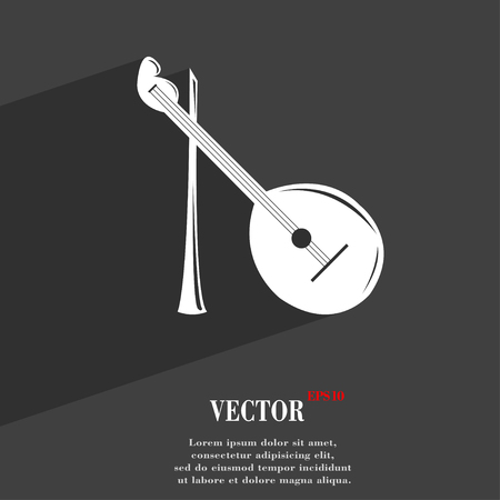 balalaika: Balalaika symbol Flat modern web design with long shadow and space for your text. Vector illustration