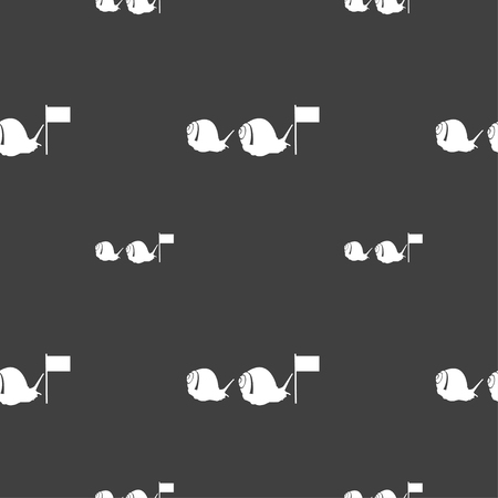 cochlea: Fast snail icon sign. Seamless pattern on a gray background. Vector illustration