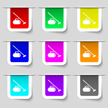 curling stone: The stone for curling icon sign. Set of multicolored modern labels for your design. Vector illustration