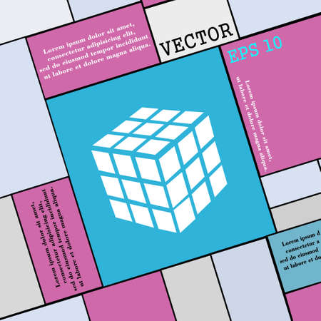 cube puzzle: A three sided cube puzzle box in 3D icon sign. Modern flat style for your design. Vector illustration Illustration