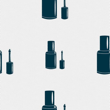 nailpolish: NAIL POLISH BOTTLE icon sign. Seamless pattern with geometric texture. Vector illustration Illustration