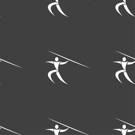 javelin: Summer sports, Javelin throw icon sign. Seamless pattern on a gray background. Vector illustration
