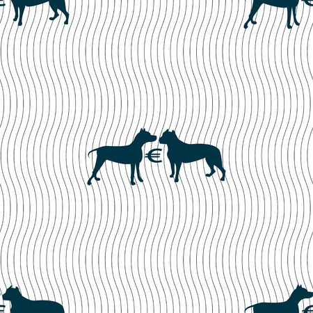 kampfhund: Wetten auf Hundekämpfe Symbol Zeichen. Nahtlose Muster mit geometrischen Textur. Vektor-Illustration Illustration