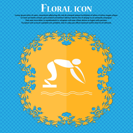diving board: Summer sports, diving icon. Floral flat design on a blue abstract background with place for your text. Vector illustration