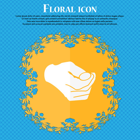 resolving: decision making by chance with coin, heads or tails icon. Floral flat design on a blue abstract background with place for your text. Vector illustration