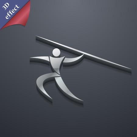lanzamiento de jabalina: Deportes de verano, lanzamiento de jabalina icono de s�mbolo. Plantillas en 3D. dise�o de moda, moderno, con espacio para el texto ilustraci�n vectorial