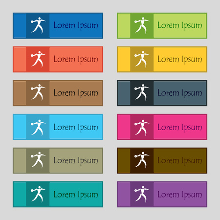 discus: Discus thrower icon sign. Set of twelve rectangular, colorful, beautiful, high-quality buttons for the site. Vector illustration
