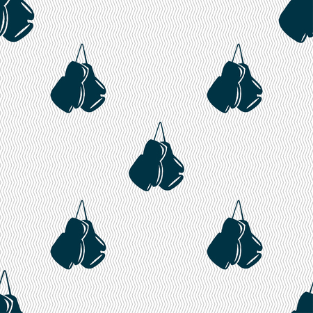 athletic type: boxing gloves icon sign. Seamless pattern with geometric texture. Vector illustration Illustration