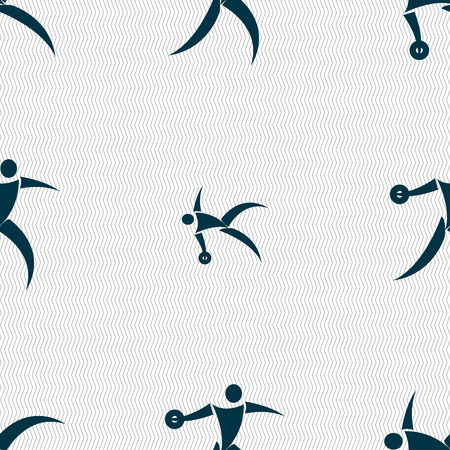 discus: Discus thrower icon sign. Seamless pattern with geometric texture. Vector illustration