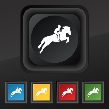trot: Horse race. Derby. Equestrian sport. Silhouette of racing horse icon symbol. Set of five colorful, stylish buttons on black texture for your design. Vector illustration Illustration