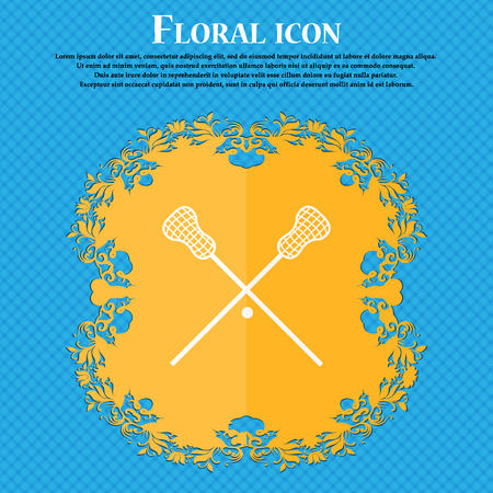 lax: Lacrosse Sticks crossed icon. Floral flat design on a blue abstract background with place for your text. Vector illustration Illustration