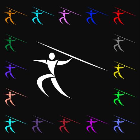 lanzamiento de jabalina: Deportes de verano, lanzamiento de jabalina icono de la muestra. Un mont�n de s�mbolos de colores para su dise�o. ilustraci�n vectorial
