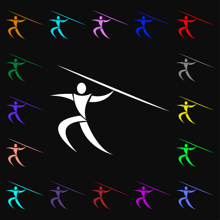 javelin: Summer sports, Javelin throw icon sign. Lots of colorful symbols for your design. Vector illustration Illustration