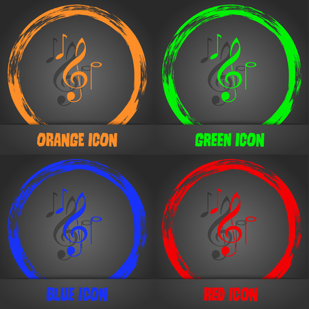 crotchets: musical notes icon. Fashionable modern style. In the orange, green, blue, red design. Vector illustration Illustration