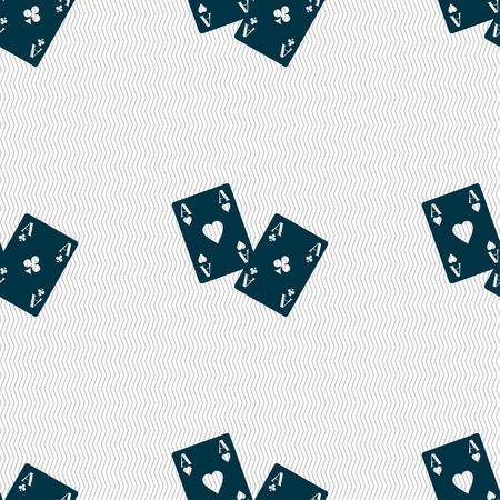 aces: Two Aces icon sign. Seamless pattern with geometric texture. Vector illustration