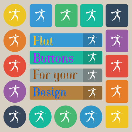 discus: Discus thrower icon sign. Set of twenty colored flat, round, square and rectangular buttons. Vector illustration Illustration