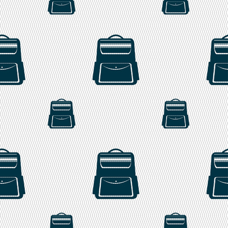 school backpack: School Backpack icon sign. Seamless pattern with geometric texture. Vector illustration Illustration