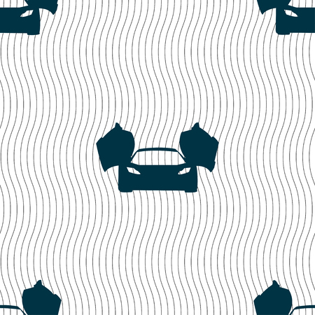 ergonomic: sports car icon sign. Seamless pattern with geometric texture. Vector illustration